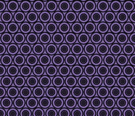 Geometric Flowers Black and Purple