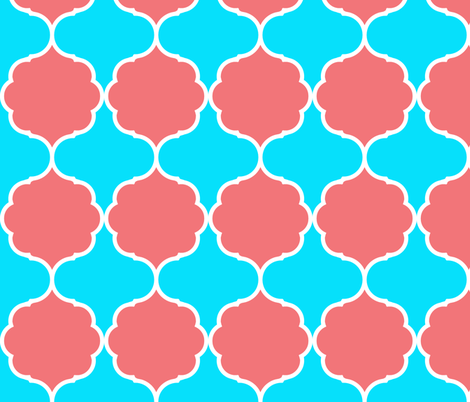 Damask coral and turquoise fabric by arm_pillozzz on Spoonflower - custom fabric