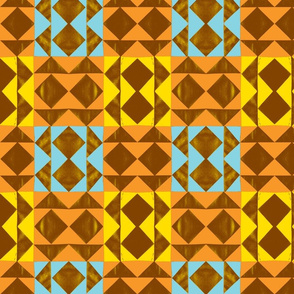 Tribal Geese Cheater Quilt - Orange