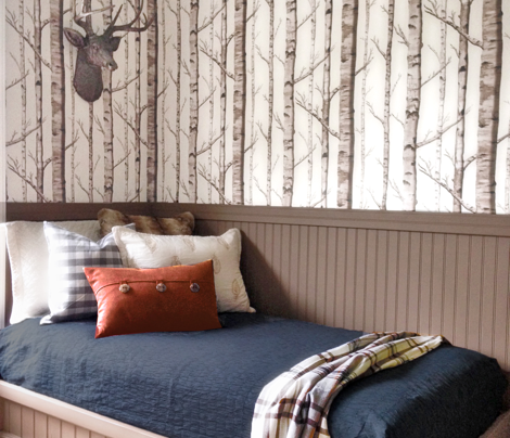 Birch Grove Fabric and Wallpaper in Greige and Rich Cream
