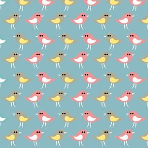 Birds pattern_greenbleu