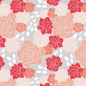 Floribunda, Coral + Gray