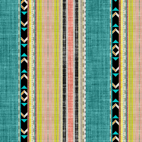 Tribal linen Stripe in Teal, Citron and Peach fabric by joanmclemore on Spoonflower - custom fabric