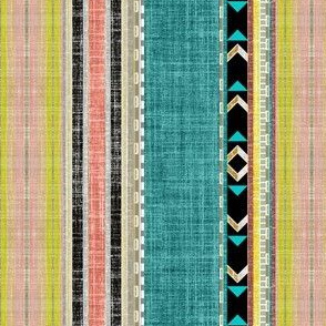 Aztec linen Stripe in Teal, Citron and Peach