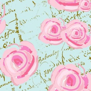 Pink Cabbage Roses on French Script