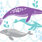 Whales Swimming Purple