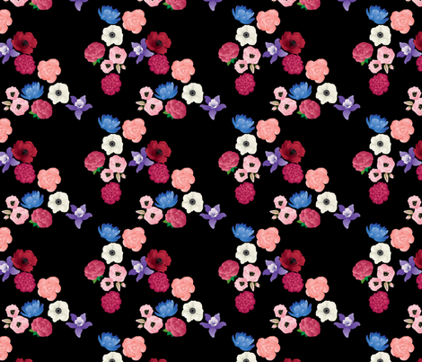 Black & Flowers fabric by thickblackoutline on Spoonflower - custom fabric