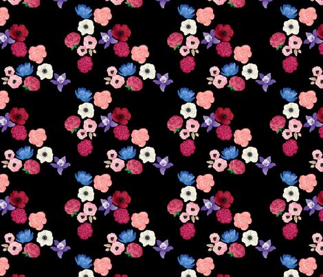 Black & Flowers fabric by thickblackoutline on Spoonflower - custom fabric
