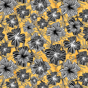 monotone floral on yellow