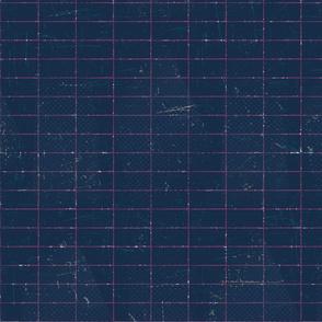 Distressed Grid Navy