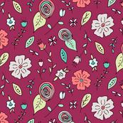 Folk Flowers {Pink}