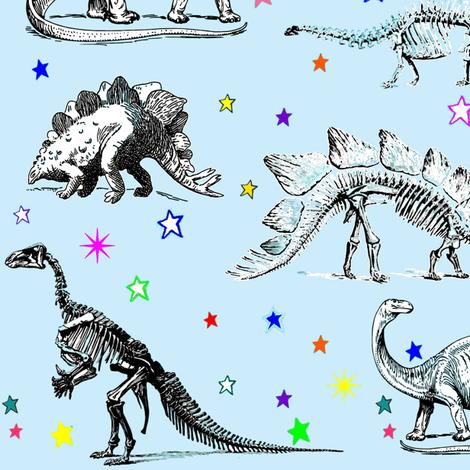 Vintage Dinosaur Skeletons, Colorful Stars on Baby Blue