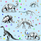 Vintage Dinosaur Skeletons, Colorful Stars on Baby Blue