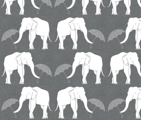 elephant_and_umbrella_grey fabric by holli_zollinger on Spoonflower - custom fabric