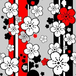 Sakura stripe black and white and red