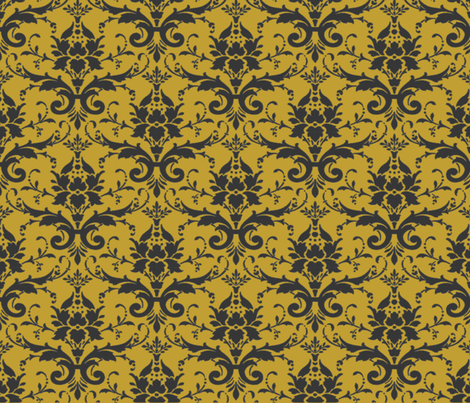 PURRFECT GOLDEN DAMASK fabric by bluevelvet on Spoonflower - custom fabric