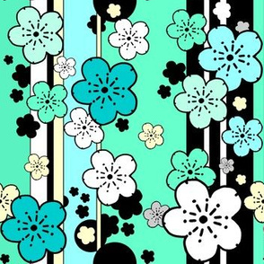 sakura stripe in mint and vanilla