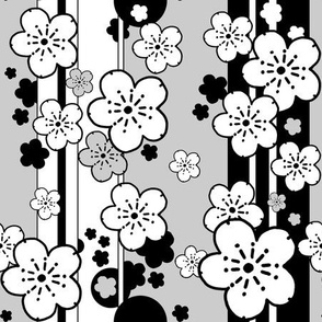 falling cherry blossoms sakura stripe black and white