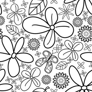 Spring Garden Black / White