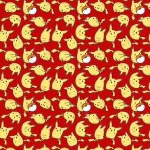 Red Kawaii Pika Pikachu Pokemon Pokeball Toss Print