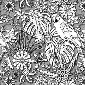 Jungle Flowers (Black/White)
