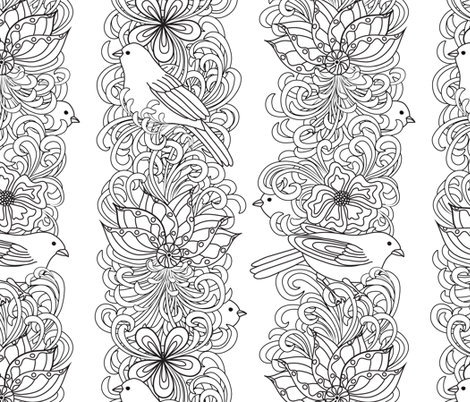 Floral stripes with birds fabric by vo_aka_virginiao on Spoonflower - custom fabric