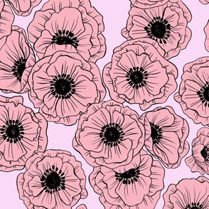 poppies - pinks and black