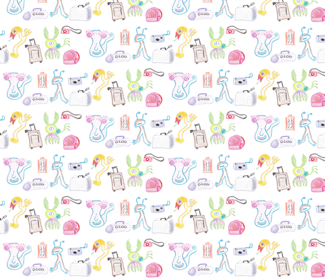 Monster Vacation fabric by arwenartanddesign on Spoonflower - custom fabric