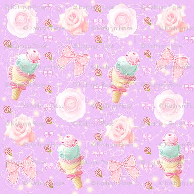 Kawaii Pastel Ice Cream Fairy Kei Bows and Roses