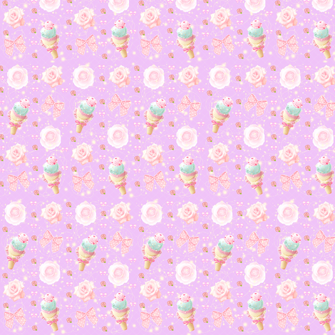 Kawaii Pastel Ice Cream Fairy Kei Bows and Roses fabric by kathrynrose on Spoonflower - custom fabric