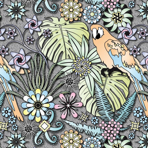 Jungle Flowers (Pastel Colors)