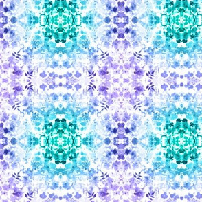 Floral Watercolour Kaleidescope - Small Flower Print in Purple and Teal