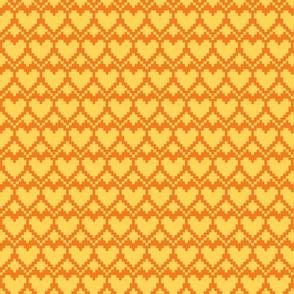 pixel hearts yellow orange