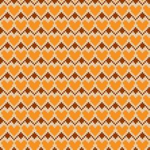 pixel hearts orange brown