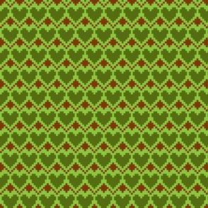 pixel hearts green