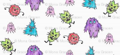 Crayon Drawn Q-T Monsters