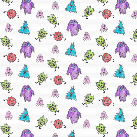 Crayon Drawn Q-T Monsters fabric by lulakiti on Spoonflower - custom fabric