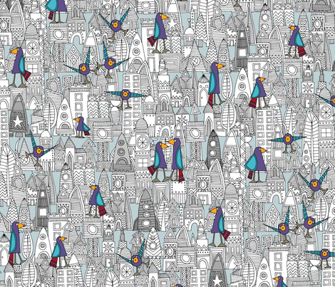 birds and rockets fabric by scrummy on Spoonflower - custom fabric