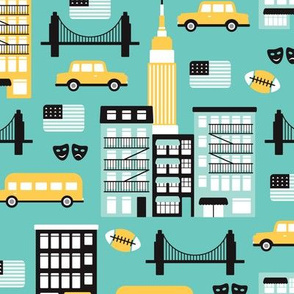 New York City travel icons retro illustration