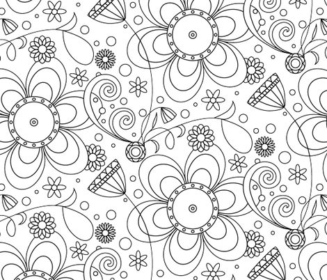 Black and White Wallpaper fabric by tasha_goddard_designs on Spoonflower - custom fabric