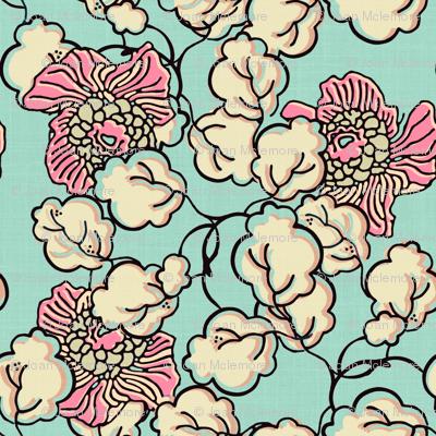 Shabby Chic Block Print Floral