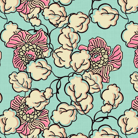 Shabby Chic Block Print Floral fabric by joanmclemore on Spoonflower - custom fabric