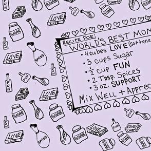 World's Best Mom Recipe (Lavender)-Tea Towel