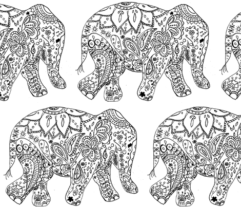 henna_elephant fabric by live&cre8 on Spoonflower - custom fabric