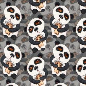 Pandas - Layered on Gray