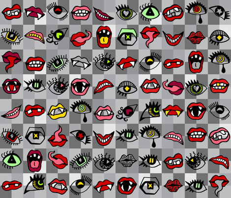 Creepy Eyes and Mouths Grey Multi fabric by ladykerry on Spoonflower - custom fabric