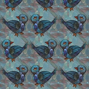 Birds - Blue Diamond Pattern