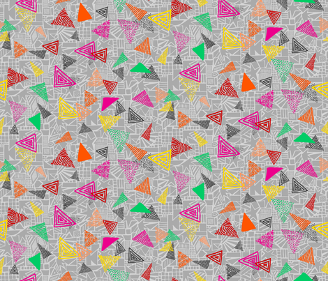 Summer Shapes Triangles Grey Multi fabric by ladykerry on Spoonflower - custom fabric