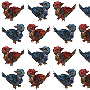 Artwork - Little Birdies - Blue and Red