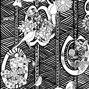 Ghana Floral with Birds in Black and White